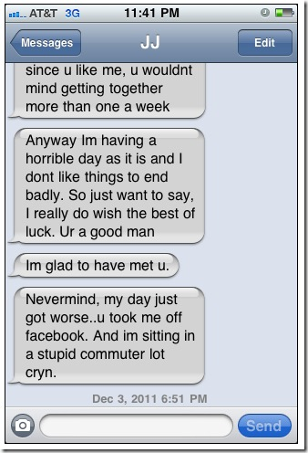 Girl text after first date