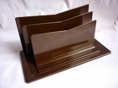 Vintage brown plastic letter rack