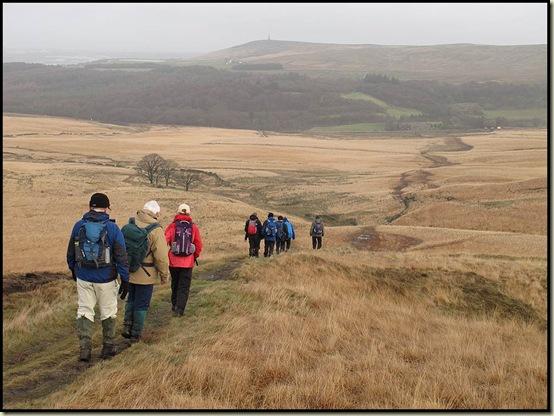 Descending towards Darwen Tower and Abbey Village