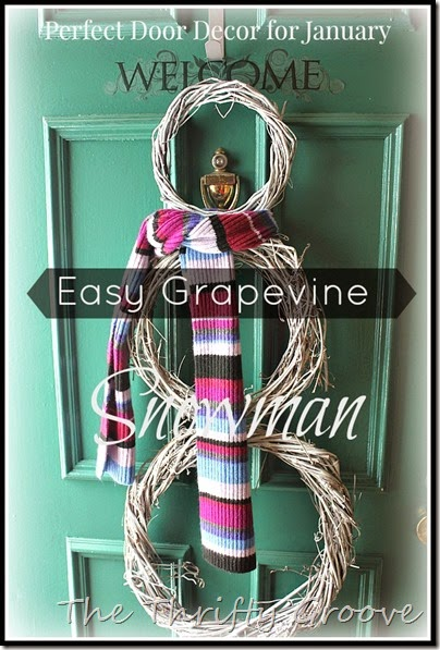 finished thrifty easy grapevine snowman for the front door.