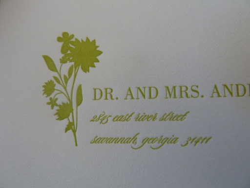 I liked the mix of type faces and the floral addition to the envelope.