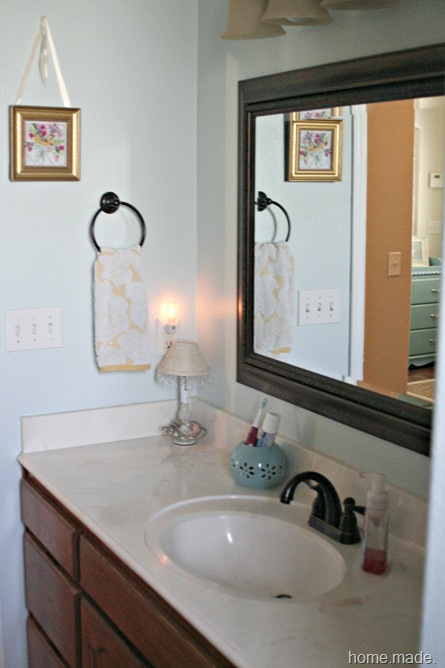 my home blue and yellow guest bath. Black Bedroom Furniture Sets. Home Design Ideas