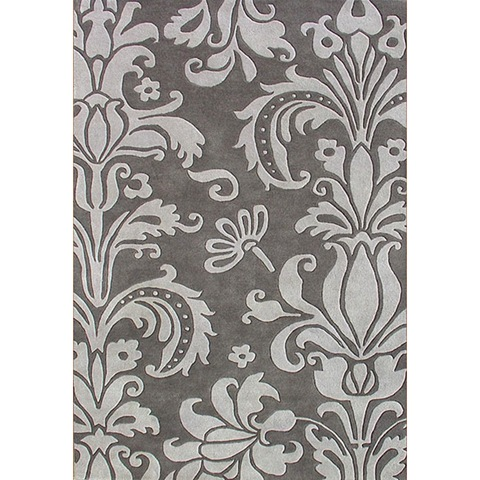 grey damask rug