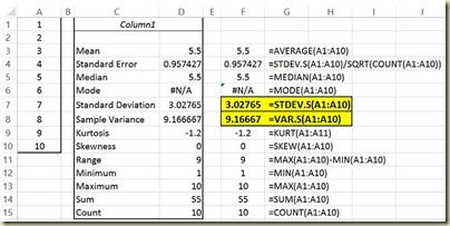 Variation in Excel - Descriptive Statistics - Variance