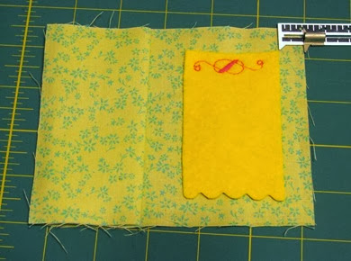 felt needle pad attached with decorative stitch