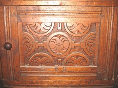 Plimoth Plant clup of storage chest carvings