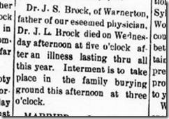 Dr. J. S. Brock Obit