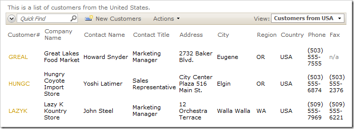 CustomersfromUSA view no longer has PostalCode, has Fax column instead, just like grid1 view.