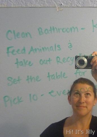 write chores on mirror