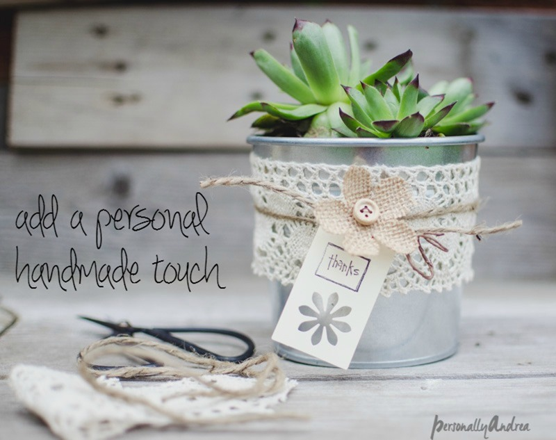 Succulent gift | IKEA SOCKER pot, lace, twine, retail tag, burlap flower | personallyandrea.com