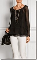 Paul and Joe Black Silk Chiffon Blouse