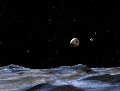 ilustração de Plutão e Caronte vistos de outra lua