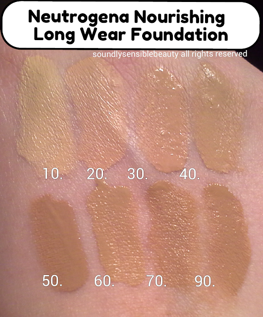 Neutrogena Nourishing 12 Hour Longwear Liquid Makeup SPF 20; Review & Swatches of Shades