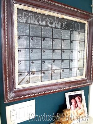 Chalkboard Dry Erase Calendar {Sawdust & Embryos}