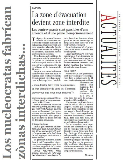 Nuclear e zònas interdichas LeDevoir 220411