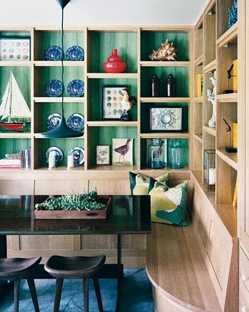 Painting the wall behind natural-colored built-in shelves might be time consuming, but the effect is so worth it, especially in this mesmerizing hue. (www.marthastewart.com)