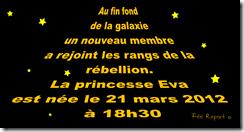 Faire-part de naissance starwars (la guerre des étoiles) - verso
