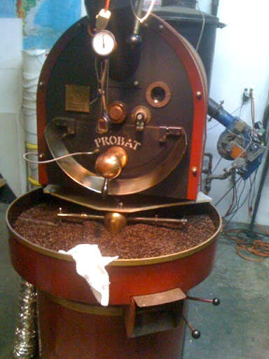 Where the magic happens: this coffee roaster is used to roast all of Oslo's beans. This batch took 15 minutes to roast in the top drum and is now being cooled in the bottom tray.