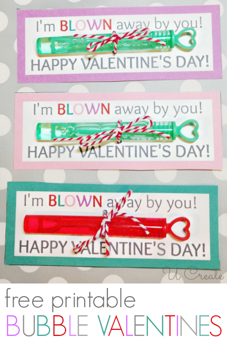 Bubble Valentine with Free Printable by U Create - many others, too!