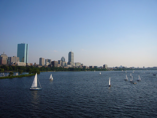 A beautiful red-flag day for a sail on the Charles
