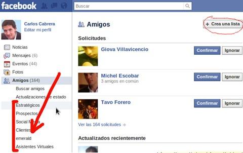 Listas personalizadas en Facebook