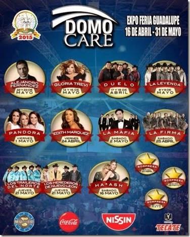 Boletos y Cartelera de conciertos domo care feria guadalupe 2015 en Monterrey