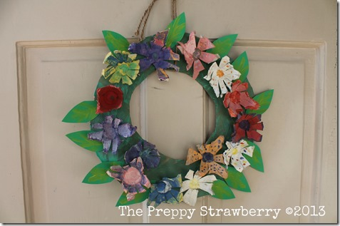 Recycled Egg Carton Wreath {The Preppy Strawberry}