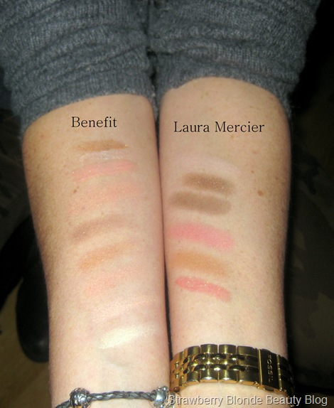 Mercier-Colour-to-go-warm-neutrals-vs-Benefit-Away-we-Glow-swatches-