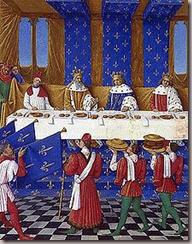 Banquet donn lors de la venue de l'empereur.  gauche Charles IV, au centre Charles V, et  droite Wenceslas le roi de Rome.
