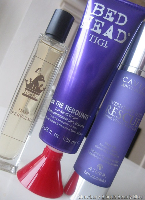 Tigi-Bedhead-On-the-Rebound-Curl-Cream_Alterna-Caviar-Overnight-Hair-Rescue_Herra-Hair-perfume-review