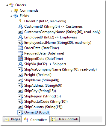 OwnerID field in the Orders controller in Code On Time Project Explorer.