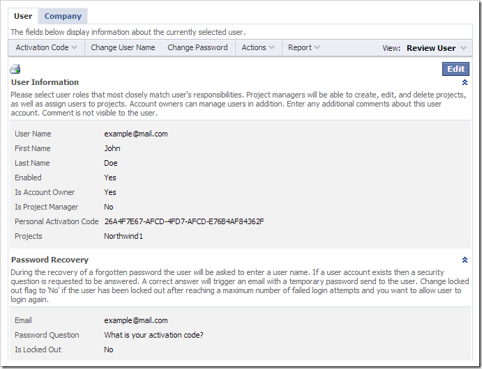 """The first """"User"""" tab displays information for the current user account."""