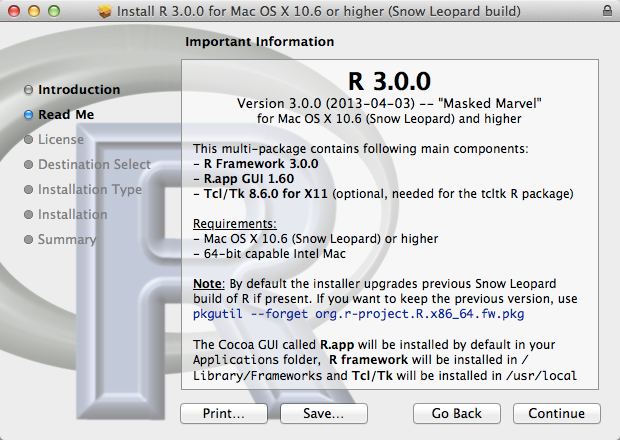 Install R 3 0 0 for Mac OS X 10 6 or higher  Snow Leopard build