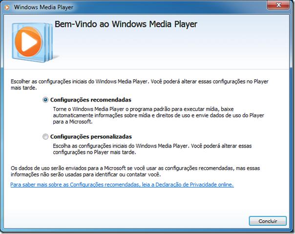 Bem vindo ao Windows Media Player