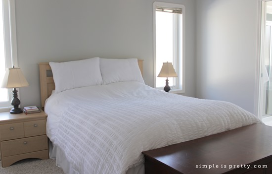 White Comforter in Master Bedroom