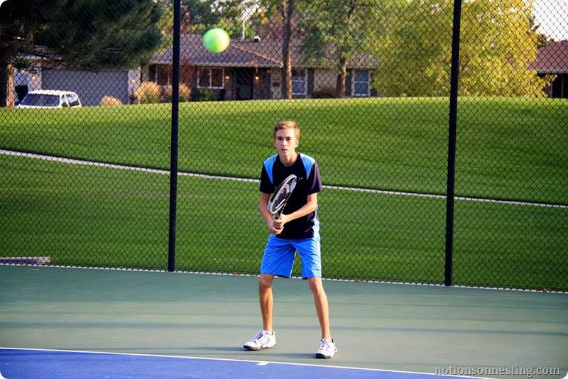 Taylor playing tennis
