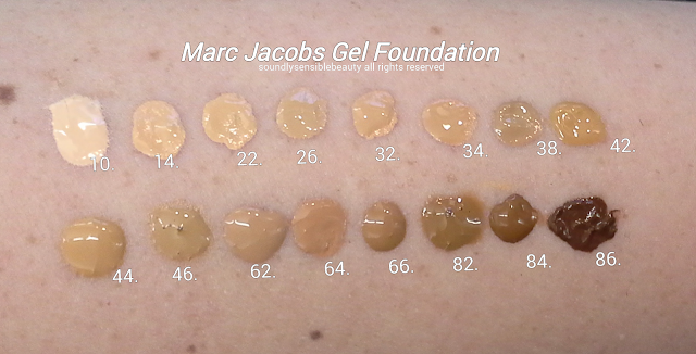 Marc Jacobs Super Charged Genius Gel Foundation, Oil Free; Review & Swatches of Shades 10 Ivory Light, 14 Ivory Medium, 22 Bisque Light, 26 Bisque Medium, 32 Beige Light, 34 Beige Medium, 38 Beige Deep, 42 Golden Light, 44 Golden Medium, 46 Golden Deep, 62 Fawn Light, 64 Fawn Medium, 66 Fawn Deep, 82 Cocoa Light, 84 Cocoa Medium, 86 Cocoa Deep