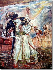 Shivaji killing Afzal Khan with the Wagh Nakh