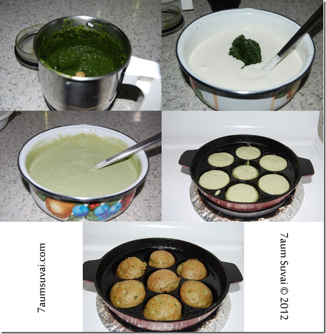 Spinach paniyaram process
