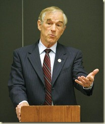 (Whitney Martin/The Battalion) Senator Ron Paul adresses a group of students about his political views Tuesday evening in Rudder Tower.  In his speech, Ron Paul speaks about the proper role of the constitution within the government.