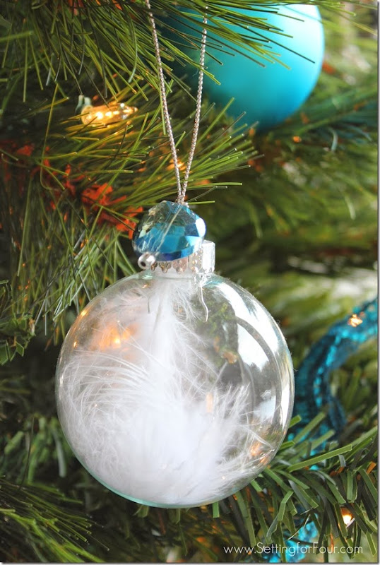 DIY Jewel and Feather Ball Ornament