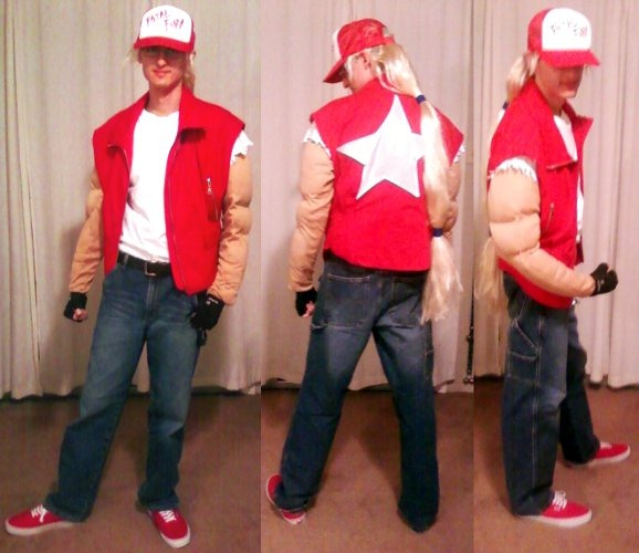 Me as Terry Bogard in three side-by-side poses