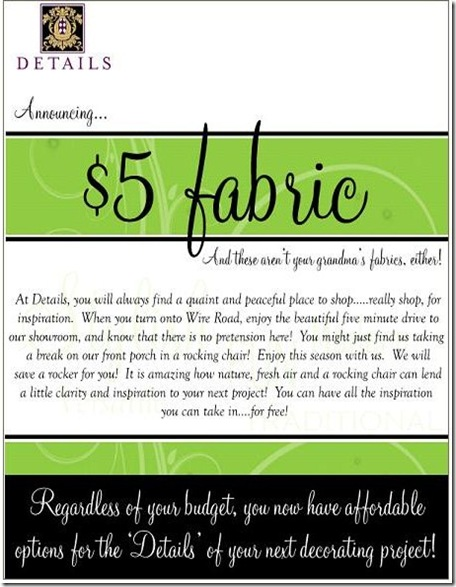 $5 Fabric Announcement