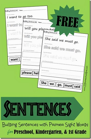 FREE Building Sentences - Learning about Sentences by Building them with Primer Sight Words for Preschool Kindergarten 1st grade (trace, read, write, cut and paste)