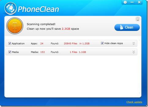 PhoneClean risultati scansione e avvio pulizia memoria