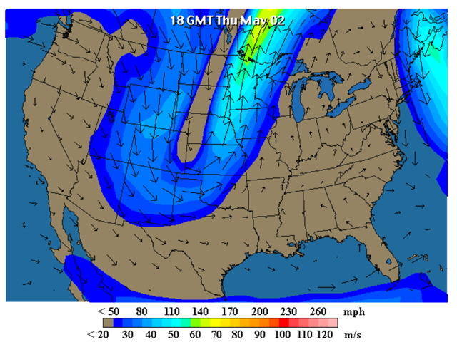 Wind map for North America, 2 May 2013 at 18 GMT. The jet stream pattern for Winter Storm Achilles showed a very high-amplitude trough over the Midwest U.S., which allowed record-breaking cold air to flow southwards out of Canada. Graphic: wunderground.com
