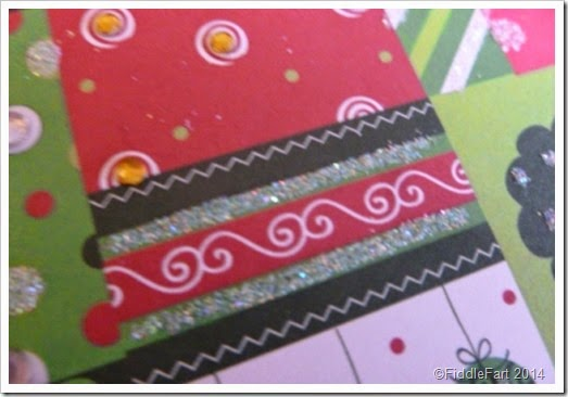 glittered patchwork Christmas Card