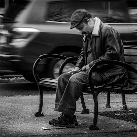 Waiting by Wil Moore - People Street & Candids ( park bench, bw, man, city, street photography, black and white, b&w, landscape )