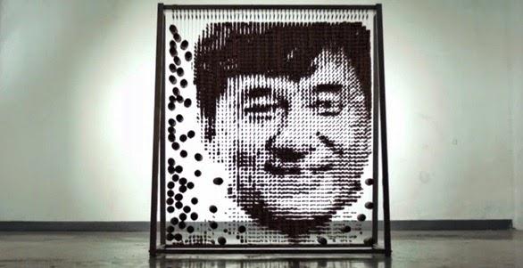 Rosto de Jackie Chan feito com hashis 2