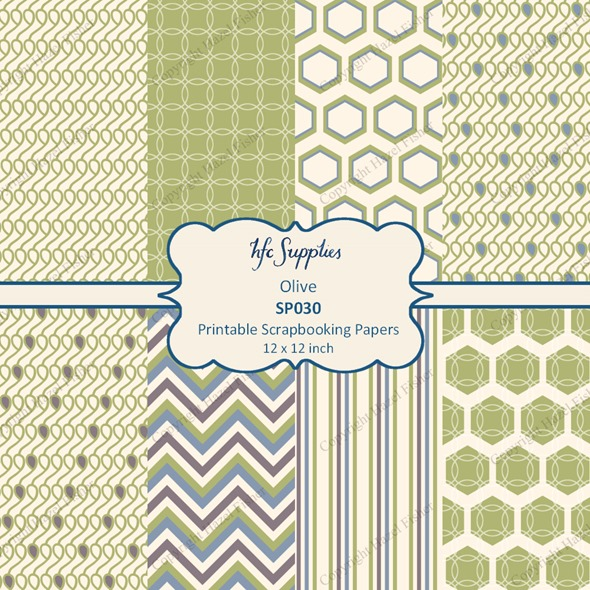 SP030 Olive etsy 1 printable patterned scrapbooking paper